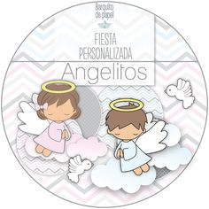 Kit Imprimible Personalizado + Candy Bar ANGELITOS BAUTISMO completo