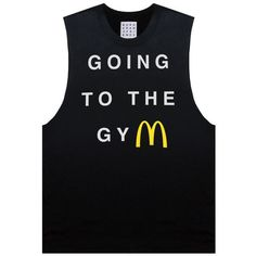 GOING TO THE GYM MUSCLE TANK (23 CHF) ❤ liked on Polyvore featuring tops, cotton tank, sleeve top, muscle tank, unisex tops and cotton tank tops