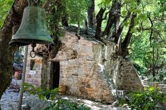 A tiny church in Greece's Peloponnese dating from the or the century is a miracle of nature, and for the faithful, a sign of God's power. 12th Century, Oak Tree, Greece Travel, Flocking, Beautiful Places, Survival, Greek, River, Pilgrims