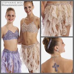 Pale peach and lavender costumes are accented by a customized barrette and a cross outlined in crystals acting as a T-back. Designed by Stephanie Woe. All of these sparkling components are available from Rhinestones Unlimited, wholesale distributor of Swarovski crystal and other sparkling trims.