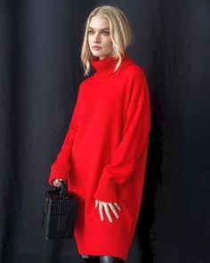 Теплые вязаные платья 2020-2021: невероятные фото красивых новинок Holiday Sweater, Knit Dress, Coats For Women, Winter Outfits, Turtle Neck, Knitting, Crochet, Womens Fashion, Sweaters