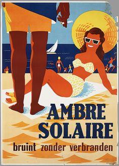 Ambre Solaire bruint zonder verbranden - reclame 1954-1955
