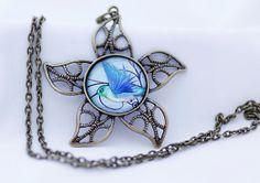 Blue Hummingbird Necklace Vintage Bronze Digital Print by BeadsMe