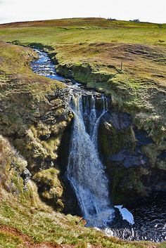 """One of Islay's most impressive yet well hidden waterfalls, Eas Mòr waterfall at Lower Killeyan on the Oa. It is fed by Abhainn Ghil."""
