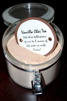 Chai Tea Vanilla Chai Tea Mix: Add to 8 oz of warm water or milk. Write this on a tag and put in a cute jar for a homemade gift!Vanilla Chai Tea Mix: Add to 8 oz of warm water or milk. Write this on a tag and put in a cute jar for a homemade gift! Mixed Drinks, Fun Drinks, Yummy Drinks, Alcoholic Drinks, Beverages, Yummy Food, Cocktails, Tasty, Comida India