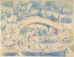 Bathers by a Bridge (recto); Study after Houdons Ecorché (verso) Paul Cézanne (French, Aix-en-Provence 1839–1906 Aix-en-Provence) Date: 1900–1906 Medium: Watercolor over graphite (recto); graphite (verso)