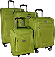 Luggage Sets Collections | Ricardo Eureka 4 Piece Deluxe Superlight Luggage Set 30 26 21 and Underseat Bag Citron *** You can find more details by visiting the image link. Note:It is Affiliate Link to Amazon.