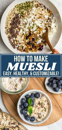 This Homemade Muesli Recipe couldn't be easier! A combination of nuts, seeds, and oats, this is a perfect healthy and filling breakfast, especially for summer or meal prep. #muesli #summerbreakfast #plantbased #overnightoats #birchermuesli #glutenfree #vegan #plantbased via frommybowl.com