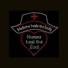 27af88d43 Nurses Heal the Soul 9x9.5 Rhinestone Bling T-Shirt Custom Caps, Bling