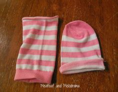 no sew american girl doll clothes, socks - long skirt and beanie