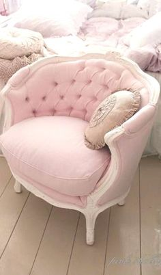 Jools Couture loves this Shabby Chic ~ pink chair for the boudoir. joolscouture.com