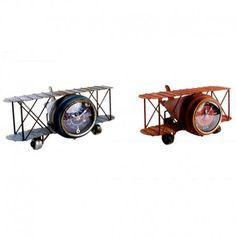 Reloj avión vintage en metal envejecido- Set de 2