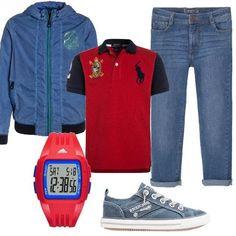 Un+look+sportivo+perfetto+per+i+pomeriggi+da+passare+con+gli+amici.+Jeans+a+sigaretta,+polo+red,+giacca+da+mezza+stagione,+sneakers+basse+navy+e+orologio+digitale+rosso.