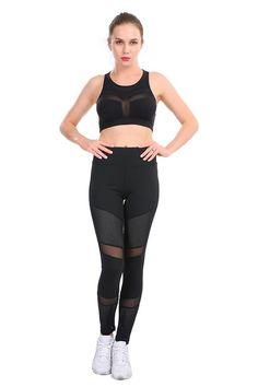 b22bbb4a40ae2 CHRLEISURE Mesh Fitness Leggings Ankle-Length Stitching Hollow Sold Soft  Pants Slim Elasticity Push Up Lady's Legging Women