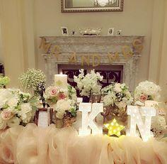 *weddingreport*no.12 . . . 新郎新婦の席の後ろはこんな感じでした(*^_^*) 棚の上にお花飾らない代わりに#thesurrey で購入したガーランドを♡大きいので存在感あったし、ゴールドの文字がチラチラ見えるのが可愛い... #卒花 #高砂 #ガーランド #mrandmrs #マーキーライト #チュール #ウェディングレポ #weddingparty #結婚式 #ベイサイド迎賓館
