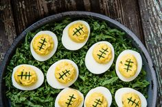 Football deviled eggs. Super Bowl Party, football, tailgating ideas, game day.