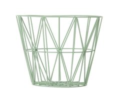 The lovely Wire basket in mint comes from Ferm Living, the basket is both functional and a stylish interior decoration. Use it to store your things or combine it with a Wire basket top to create a small side table or night stand. Large Wire Basket, Wire Basket Storage, Wire Storage, Large Baskets, Baby Storage, Basket Tray, Design Tisch, Green Home Decor, Scandinavian