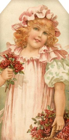 1907 Flower Maidens ~ girl with roses ~ tag