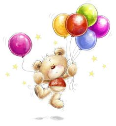 Picture of Cute teddy bear with the colorful balloons and stars. Background with bear and balloons. stock photo, images and stock photography. Birthday Balloons Clipart, Balloon Clipart, Happy Birthday Wishes, Happy Birthday Quotes, Birthday Greeting Cards, Birthday Greetings, Card Birthday, Colourful Balloons, Cute Teddy Bears