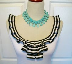 Embellished Tank Top with Fun Black and White Box Pleat Ruffles