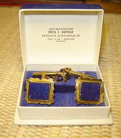 Step Cut Natural Lapis Lazulis Gold 18kt Cufflinks and Tie Pin 12kt   eBay