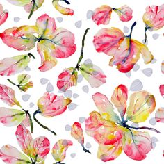 Pink Shower Blossoms, White Background fabric by susan_magdangal on Spoonflower - custom fabric