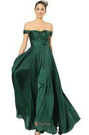 Long Flowy Emerald Offshoulder Dress
