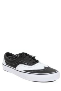 Vans White And Black Leather Era Wingtip Lace-Up Sneakers