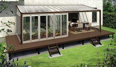 サンフィールⅢ Side Porch, Orange House, Outdoor Spaces, Outdoor Decor, Glass House, Ideal Home, House Plans, Interior Decorating, New Homes