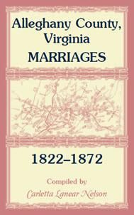 Alleghany County, Virginia, Marriages, 1822-1872