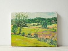 Vintage Landscape Painting Meadow Painting Signed Art