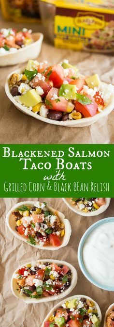 Blackened Salmon Taco Boats {with grilled corn and black bean relish} - House of Yumm #oldelpaso #ad