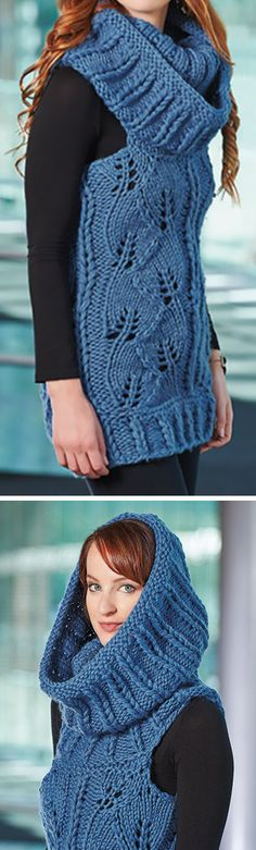 Knitting Pattern for Cables on the Catwalk Vest - Chunky lace pullover can has an oversized cowl neckliine that can be worn up as a hood. Quick knit in bulky yarn. SizesXS/S (M/L). Designed byGalina Carroll