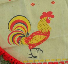 Vintage 1960s Rooster Vinyl Covered Jute Tablecloth60 by linbot1, $14.00