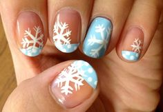 Get into the winter/christmas spirit with this beautiful nail art!! #winter #nailart #season