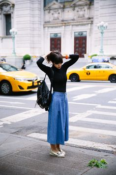 LOVE TAZA - denim midi skirt