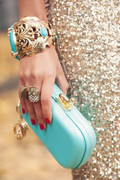 Chic turquoise clutch with a flashy evening gown-perfect for bachelorette or rehearsal dinner