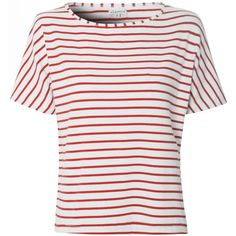 Glamorous White And Red Striped T-Shirt ($23) ❤ liked on Polyvore featuring tops, t-shirts, red, striped tee, short sleeve tee, red t shirt, white t shirt and crew t shirts