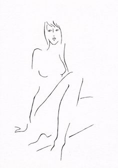 Simple black and white line art nude sketch. Original drawing by siret roots
