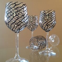 Black swirl' Made to Order Hand painted wine glasses. Price is for set of two.