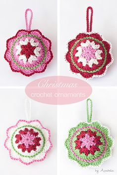 Crochet Patterns Christmas Christmas crochet ornament pattern by Anabelia Craft Design Crochet Ornament Patterns, Crochet Ornaments, Christmas Crochet Patterns, Crochet Snowflakes, Christmas Knitting, Crochet Christmas Decorations, Crochet Decoration, Christmas Crafts, Christmas Christmas
