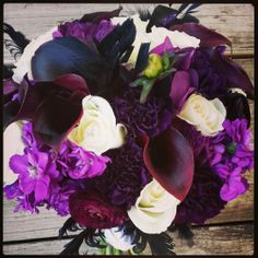 Bridal bouquet in plums and white by Fleurt Floral Art @bellefleure #flowers