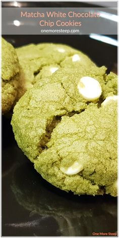 Matcha White Chocolate Chip Cookies Recipe from One More Steep Matcha Cookies, White Chocolate Chip Cookies, Cookie Exchange, Vegan Butter, Holiday Baking, Sugar Cookies, Cookie Recipes, Desserts, Food