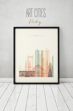 Istanbul print, Poster, Wall art, Turkey cityscape, Istanbul  skyline, City poster, Typography art Home Decor Digital Print ART PRINTS VICKY