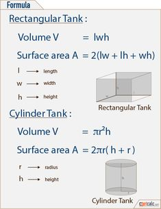 Fuel or water tank capacity calculator, formulas & work with steps to measure the capacity of cylindrical or rectangular tank, in US customary & metric (SI) units (Gallons & Liters). Mathematics Geometry, Teaching Geometry, Physics And Mathematics, Teaching Math, Physics Facts, Math Vocabulary, Maths Algebra, Math Tumblr, Tips