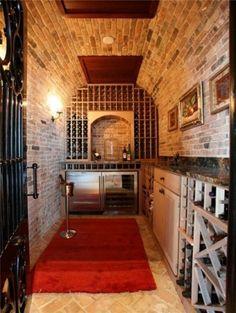 brick basement kitchenette