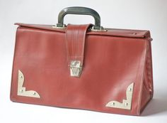 Vintage Soviet briefcase burgundy doctor's bag  faux by SovietEra, $31.00