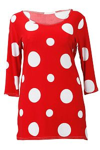 lady tops smock   Ladies Plus Size Red White Spot Printed Womens Casual Tunic Smock Top ...