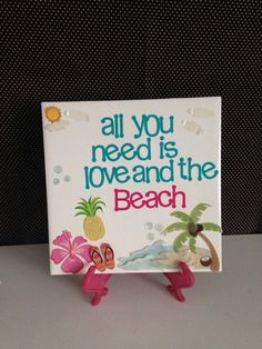 All You Need is Love and the Beach Ceramic Tile by crazydaisy12
