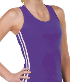 Striped Lycra Racer Back Tank Top by Chassé - 6 popular colors available